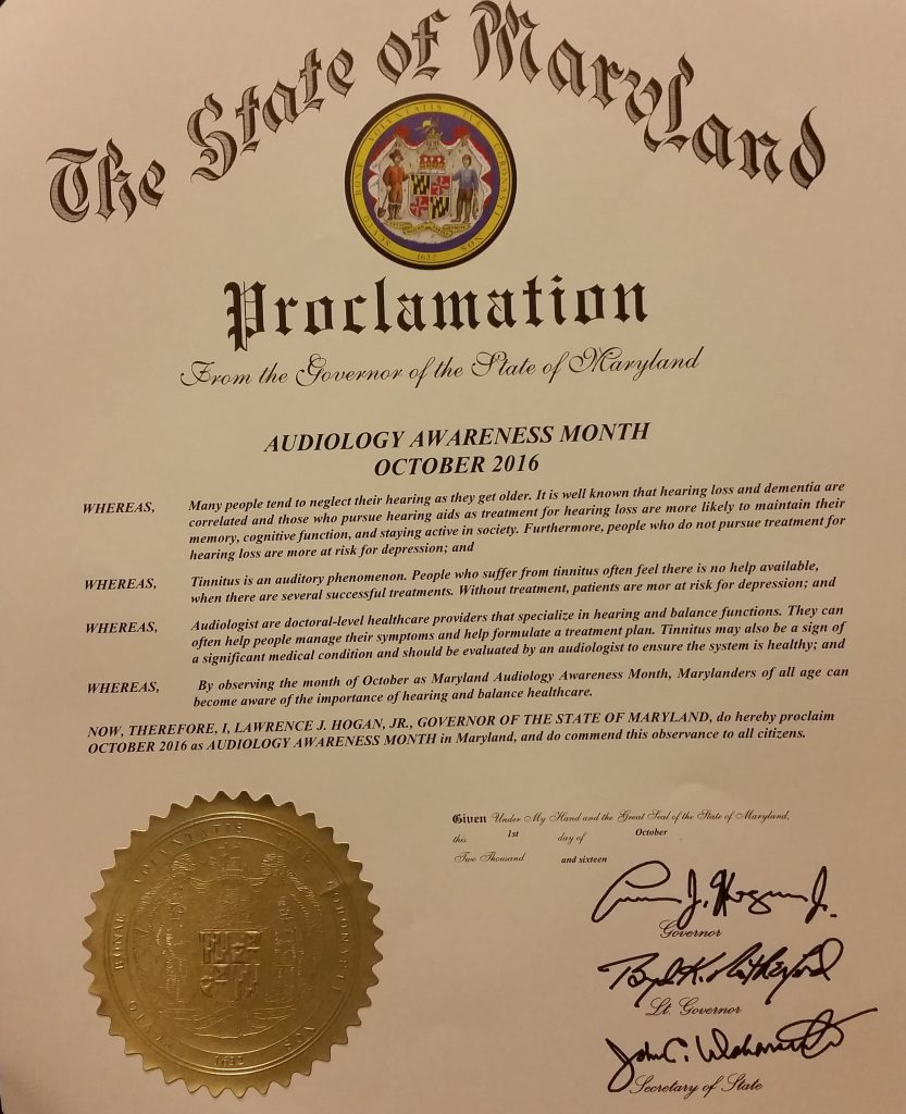 2016 Maryland Audiology Awareness Month Proclamation